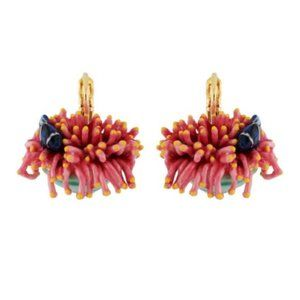 Les Nereides Pink Sea Anemone&Blue Fish Earrings